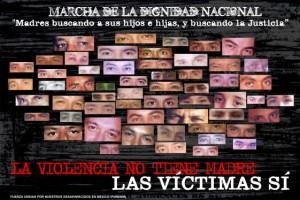 cartel de la Marcha por la Dignidad Nacional encabezada por madres de desaparecidos actuales en Mayo pasado