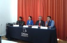 Aspectos de conferencia. De izquierda a derecha: Edmundo del Pozo/Fundar; Marisol Anglés/IIJ-UNAM; Félix Hernández Gamundi/Fundación para la Democracia; Javier Bautista/PIAI-Iber. | Foto: Olivia Vázquez