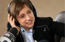 La comunicadora, ante los micrófonos de MVS