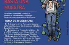 Toma de muestras de ADN en Morelos