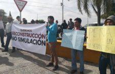 Protestan damnificados durante gira de EPN  a Puebla
