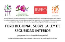 EN AGENDHA | Foro en Torreón sobre la Ley de Seguridad Interior