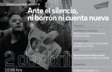 EN AGENDHA | Presentación de Informe Anual: Ante el silencio, ni borrón ni cuenta nueva