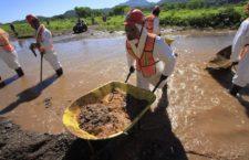 CANANEA, SONORA., 29AGOSTO2014.- Empleados de Grupo México y de empleo temporal del estado de Sonora comenzaron ayer labores de limpieza en el Río Sonora y Bacanuchi, en el municipio de Arizpe. Como parte de la limpieza se remueve la tierra contaminada y se mezcla con cal para neutralizar los ácidos. El pasado 8 de agosto se registró una fuga en las tuberìas de las instalaciones de Grupo México, que derivo en la contaminación de los ríos Sonora y Bacanuchi con 40 mil metros cúbicos de contaminantes altamente tóxicos. FOTO: MARGARITA GARCÍA /CUARTOSCURO.COM