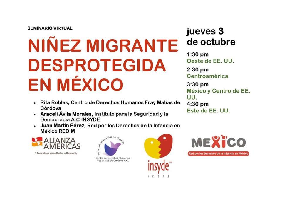 """EN AGENDHA    Webinar  """"Niñez migrante desprotegida en México"""""""