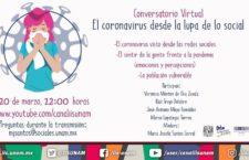 EN AGENDHA | HOY: Conversatorio Virtual:El coronavirus desde la lupa de los social