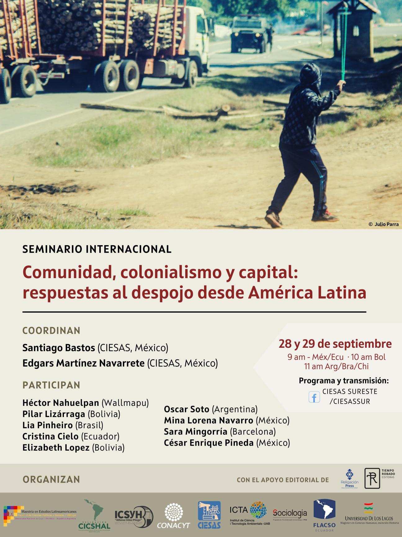 """EN AGENDHA   Seminario """"Comunalidad, colonialismo y capital: respuestas al despojo desde América Latina"""""""