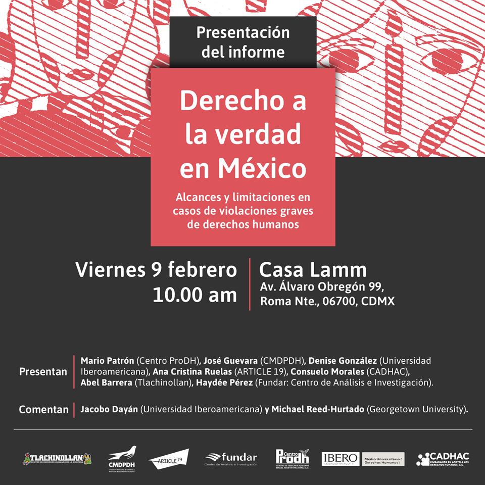 """Presentación del informe """"Derecho a la verdad en México"""""""