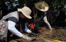 COAHUAYANA, MICHOACÁN, 20AGOSTO2020. En el primer día de búsqueda por la sierra-costa de Michoacán, se ubicó una fosa clandestina en la que se localizó una falange, hueso de una mano, motivo por el que la exploración quedó totalmente en manos de la Fiscalía General del Estado de Michoacán y de su Comisión de Búsqueda de Desaparecidos, quienes reservaron la información de hallazgos hasta terminar la investigación. La búsqueda está realizándose en un predio de la costa de Coahuayana, donde están presentes las autoridades por conducto de la propia Comisión Nacional de Búsqueda de Personas Desaparecidas, la Fiscalía General de la República, la Fiscalía General del Estado de Michoacán, la Guardia Nacional, la Secretaría de la Defensa Nacional, la Policía Michoacán, la Policía Michoacán Ambiental y otras corporaciones de seguridad, así como colectivos civiles que apoyan a familiares a localizar a desaparecidos.  FOTO: JUAN JOSÉ ESTRADA SERAFÍN/CUARTOSCURO.COM
