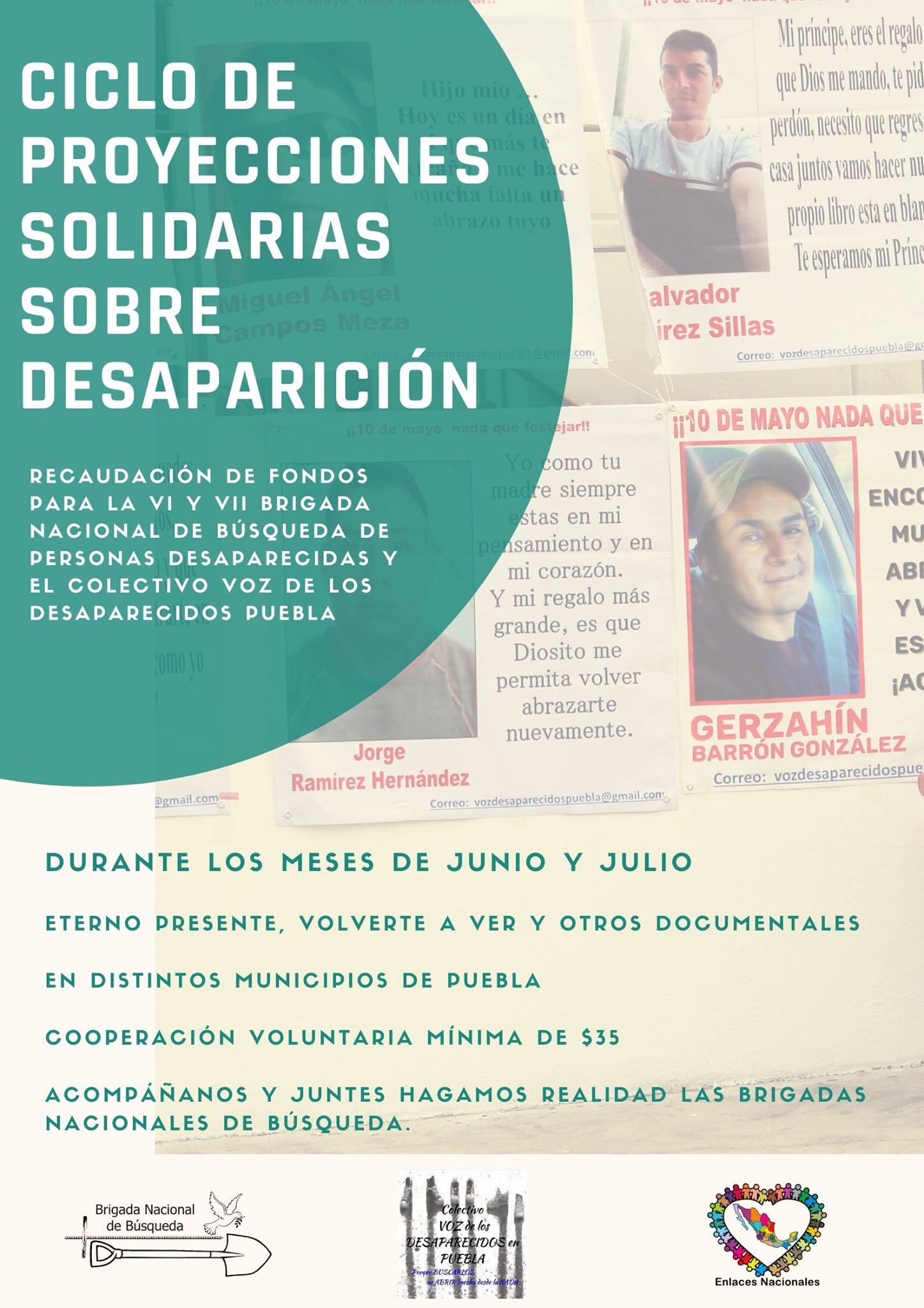 EN AGENDHA | Puebla: Proyección solidaria sobre desaparición de personas